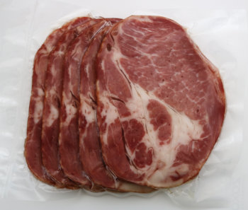 Our coppa bacon comes from the shoulder of our organic pasture-raised pork, and is naturally maple smoked.