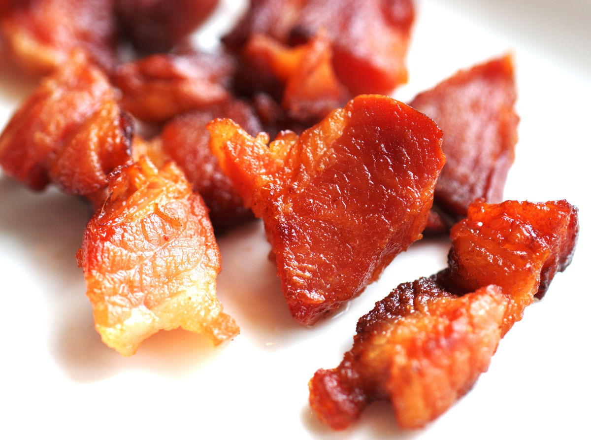 Smoked bacon ends & pieces, cut from our naturally pasture raised heritage pork hogs