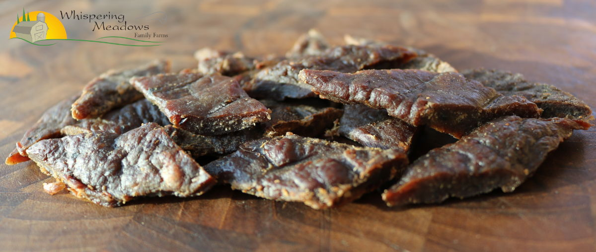 All-natural and organic beef jerky, locally made from our farm in Ontario Canada, from pasture-raised Black Angus beef