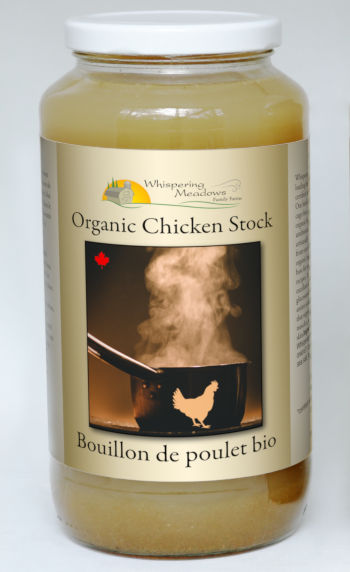 Chicken stock made from certified organic chicken, vegetables and seasonings.