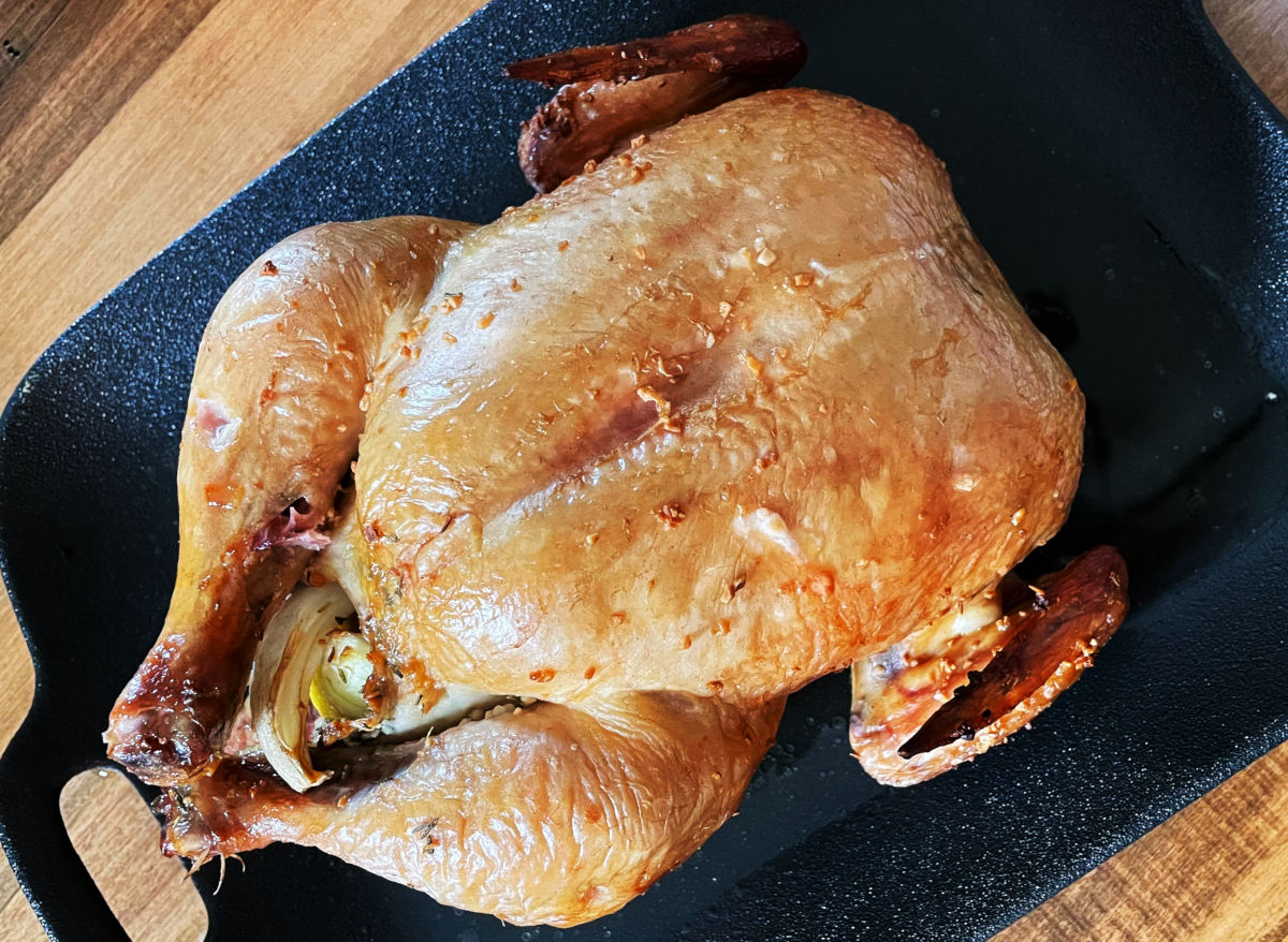Certified organic whole roasted chicken - free-range, cage-free, pastured, and naturally processed to better than organic standards.