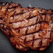 The rib-eye steak is very well marbled, extremely juicy and delicious!