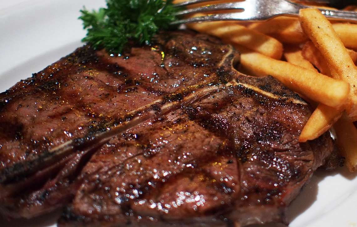 Our T-bone steak (Porterhouse) is grass-fed, grain finished, naturally pasture raised and free range. Order online.